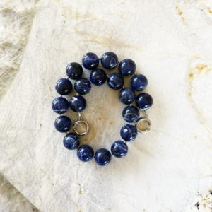 Shop Sodalite Necklaces! Sodalite 20mm Round Beaded Statement Necklace with Interlocking Ring Clasp | Natural genuine Sodalite necklaces. Buy crystal jewelry, handmade handcrafted artisan jewelry for women.  Unique handmade gift ideas. #jewelry #beadednecklaces #beadedjewelry #gift #shopping #handmadejewelry #fashion #style #product #necklaces #affiliate #ad