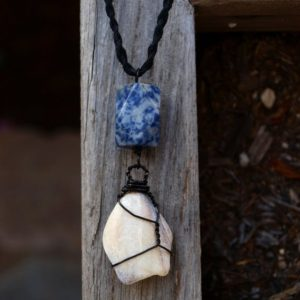 Shop Sodalite Necklaces! Beach Jewelry – Shell And Sodalite Necklace – Wirewrapped With Black Copper, Hemp Chain – Ecofriendly, Fair Trade, Men's, Woman's | Natural genuine Sodalite necklaces. Buy crystal jewelry, handmade handcrafted artisan jewelry for women.  Unique handmade gift ideas. #jewelry #beadednecklaces #beadedjewelry #gift #shopping #handmadejewelry #fashion #style #product #necklaces #affiliate #ad