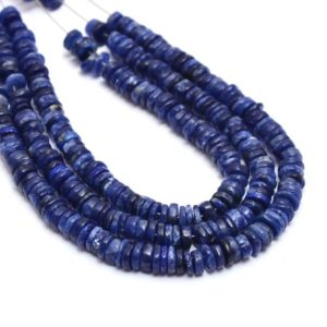 Blue Sodalite Gemstone 5mm Smooth Wheel Spacer Beads   Natural Sodalite Semi Precious Gemstone Loose Heishi / Coin Beads   16inch Strand   Natural genuine other-shape Gemstone beads for beading and jewelry making.  #jewelry #beads #beadedjewelry #diyjewelry #jewelrymaking #beadstore #beading #affiliate #ad
