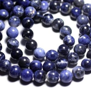 Shop Sodalite Bead Shapes! Wire 37pc – beads of stone – Sodalite balls 10 mm approx 39cm | Natural genuine other-shape Sodalite beads for beading and jewelry making.  #jewelry #beads #beadedjewelry #diyjewelry #jewelrymaking #beadstore #beading #affiliate #ad