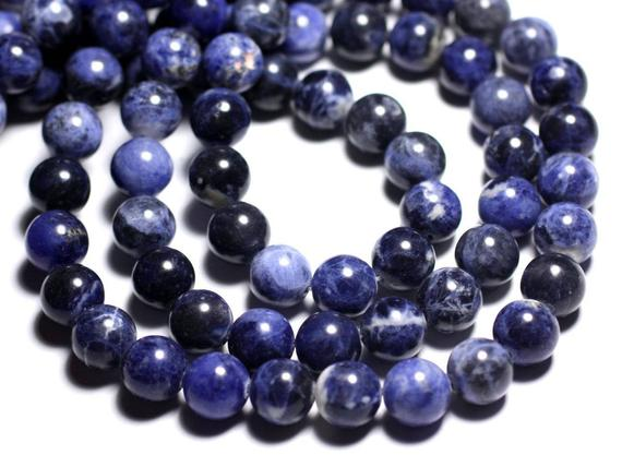 Wire 37pc - Beads Of Stone - Sodalite Balls 10 Mm Approx 39cm
