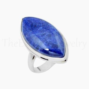 Shop Sodalite Rings! Beautiful Sodalite Ring, Marquise Gemstone, 925 Sterling Silver, Simple Band Ring, Statement Ring, Women's Jewelry, Christmas Sale, Gift   Natural genuine Sodalite rings, simple unique handcrafted gemstone rings. #rings #jewelry #shopping #gift #handmade #fashion #style #affiliate #ad