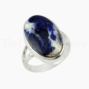 Shop Sodalite Rings! Blue Sodalite Ring, Oval Gemstone, 925 Sterling Silver, Split Band Ring, Statement Ring, Women's Jewelry, Christmas Sale, Bohemian Ring   Natural genuine Sodalite rings, simple unique handcrafted gemstone rings. #rings #jewelry #shopping #gift #handmade #fashion #style #affiliate #ad