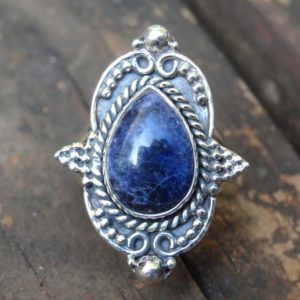 Shop Sodalite Rings! Natural Blue Sodalite Sterling Silver Ring Size 7.5, 925 Silver Sodalite Ring, Natural Stone Sodalite Sterling Silver Statement Ring 7 8   Natural genuine Sodalite rings, simple unique handcrafted gemstone rings. #rings #jewelry #shopping #gift #handmade #fashion #style #affiliate #ad