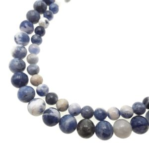 """Shop Sodalite Round Beads! Natural Blue and White Sodalite Smooth Round Beads 6mm 8mm 10mm 12mm 15.5"""" Str 