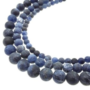 """Shop Sodalite Round Beads! Natural Sodalite Matte Round Beads 6mm 8mm 10mm 15.5"""" Strand 