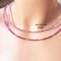 Natural Pink Spinel Necklace / july Birthstone / very Clear 3mm Natural Light Or Dark Pink Spinel / sterling Silver / 14k Rose Or Yellow Gold Filled | Natural genuine Gemstone jewelry. Buy crystal jewelry, handmade handcrafted artisan jewelry for women.  Unique handmade gift ideas. #jewelry #beadedjewelry #beadedjewelry #gift #shopping #handmadejewelry #fashion #style #product #jewelry #affiliate #ad