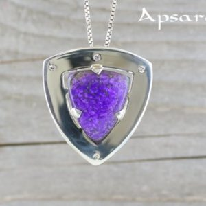 Shop Sugilite Pendants! Sugilite pendant, diamonds, sterling silver 925,  natural stone, purple stone pendant, celestial, quality made, handmade, luxury pendant | Natural genuine Sugilite pendants. Buy crystal jewelry, handmade handcrafted artisan jewelry for women.  Unique handmade gift ideas. #jewelry #beadedpendants #beadedjewelry #gift #shopping #handmadejewelry #fashion #style #product #pendants #affiliate #ad