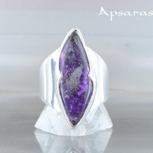 Shop Sugilite Rings! sugilite ring, size 6,75, sterling silver, purple natural stone, one of kind, handmade, quality made   Natural genuine Sugilite rings, simple unique handcrafted gemstone rings. #rings #jewelry #shopping #gift #handmade #fashion #style #affiliate #ad