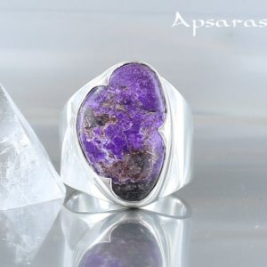 Shop Sugilite Rings! sugilite ring, size 7,5, sterling silver, purple natural stone, one of kind, handmade, quality made   Natural genuine Sugilite rings, simple unique handcrafted gemstone rings. #rings #jewelry #shopping #gift #handmade #fashion #style #affiliate #ad