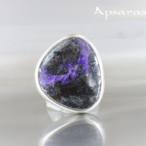 Shop Sugilite Rings! sugilite ring, size 7,75, sterling silver, purple stone, natural stone, one of kind, handmade, ApsarasV   Natural genuine Sugilite rings, simple unique handcrafted gemstone rings. #rings #jewelry #shopping #gift #handmade #fashion #style #affiliate #ad