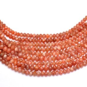 Shop Sunstone Faceted Beads! Sunstone Gemstone Rondelle Faceted Beads | 5mm-10mm Beads 8inch Strand | Natural Sunstone Fire Semi Precious Gemstone Beads | AAA+ Quality | Natural genuine faceted Sunstone beads for beading and jewelry making.  #jewelry #beads #beadedjewelry #diyjewelry #jewelrymaking #beadstore #beading #affiliate #ad