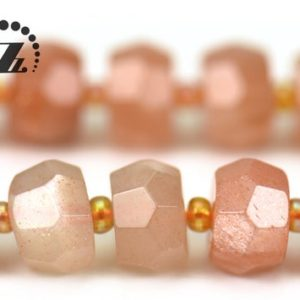 """Shop Sunstone Faceted Beads! Sunstone Faceted rondelle beads,abacus beads,space bead,irregular beads,Genuine,natural,gemstone,diy,Grade AA,6x10mm 6x12mm,15"""" full strand 