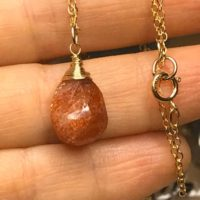 Genuine Sunstone Pendant Gold Necklace, Wire Wrapped, Orange Faceted Sun Stone Jewelry, Gemstone Pendant. Golden Necklace | Natural genuine Gemstone jewelry. Buy crystal jewelry, handmade handcrafted artisan jewelry for women.  Unique handmade gift ideas. #jewelry #beadedjewelry #beadedjewelry #gift #shopping #handmadejewelry #fashion #style #product #jewelry #affiliate #ad