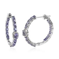 Genuine Tanzanite Inside Out Latch Back Hoop Earrings In Platinum Over Sterling Silver (8.48 G) 5.75 Ctw | Natural genuine Gemstone jewelry. Buy crystal jewelry, handmade handcrafted artisan jewelry for women.  Unique handmade gift ideas. #jewelry #beadedjewelry #beadedjewelry #gift #shopping #handmadejewelry #fashion #style #product #jewelry #affiliate #ad