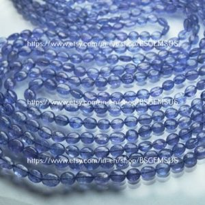 Shop Tanzanite Bead Shapes! 7 Inches Strand,Finest Quality,Natural Tanzanite Smooth Oval Beads,Size 5-7mm | Natural genuine other-shape Tanzanite beads for beading and jewelry making.  #jewelry #beads #beadedjewelry #diyjewelry #jewelrymaking #beadstore #beading #affiliate #ad
