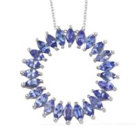Aa Tanzanite Platinum Over Sterling Silver Circle Pendant With Chain (20 In) 3.50 Ctw Women Necklace Gift For Her | Natural genuine Gemstone jewelry. Buy crystal jewelry, handmade handcrafted artisan jewelry for women.  Unique handmade gift ideas. #jewelry #beadedjewelry #beadedjewelry #gift #shopping #handmadejewelry #fashion #style #product #jewelry #affiliate #ad