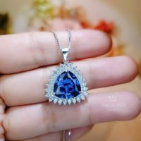 Large Luxury Trillion Tanzanite Necklace – Sterling Silver Solitaire Halo Luxury December Birthstone Triangle Cut Tanzanite Pendant | Natural genuine Gemstone jewelry. Buy crystal jewelry, handmade handcrafted artisan jewelry for women.  Unique handmade gift ideas. #jewelry #beadedjewelry #beadedjewelry #gift #shopping #handmadejewelry #fashion #style #product #jewelry #affiliate #ad