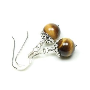 Shop Tiger Eye Earrings! Tiger Eye Earrings Sterling Silver yellow brown natural stone simple everyday dangle drops birthday Christmas holiday gift for women 6161   Natural genuine Tiger Eye earrings. Buy crystal jewelry, handmade handcrafted artisan jewelry for women.  Unique handmade gift ideas. #jewelry #beadedearrings #beadedjewelry #gift #shopping #handmadejewelry #fashion #style #product #earrings #affiliate #ad