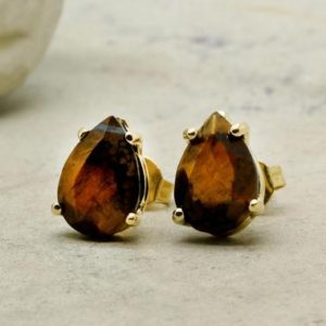 Shop Tiger Eye Jewelry! Tiger eye earrings,teardrop earrings,gold pear earrings,solid gold earrings,prong post earrings,bridesmaid gifts,bridesmaid e | Natural genuine Tiger Eye jewelry. Buy crystal jewelry, handmade handcrafted artisan jewelry for women.  Unique handmade gift ideas. #jewelry #beadedjewelry #beadedjewelry #gift #shopping #handmadejewelry #fashion #style #product #jewelry #affiliate #ad
