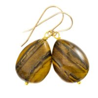 Tiger's Eye Earrings Smooth Large Teardrop Dangle Sterling Silver Or 14k Solid Yellow Gold Or Filled Spyglass Designs Natural Tiger Eye | Natural genuine Gemstone jewelry. Buy crystal jewelry, handmade handcrafted artisan jewelry for women.  Unique handmade gift ideas. #jewelry #beadedjewelry #beadedjewelry #gift #shopping #handmadejewelry #fashion #style #product #jewelry #affiliate #ad