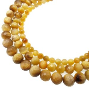 """Shop Tiger Eye Faceted Beads! Golden Tiger Eye Faceted Round Beads 6mm 8mm 10mm 15.5"""" Strand   Natural genuine faceted Tiger Eye beads for beading and jewelry making.  #jewelry #beads #beadedjewelry #diyjewelry #jewelrymaking #beadstore #beading #affiliate #ad"""