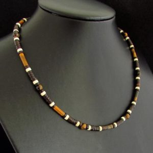 Shop Tiger Eye Necklaces! Tiger Eye and Coconut Handmade Necklace, Natural Gemstone Necklace for Men or Women, Mens Choker, Mens Beaded Necklace, Gift for Him Her | Natural genuine Tiger Eye necklaces. Buy handcrafted artisan men's jewelry, gifts for men.  Unique handmade mens fashion accessories. #jewelry #beadednecklaces #beadedjewelry #shopping #gift #handmadejewelry #necklaces #affiliate #ad