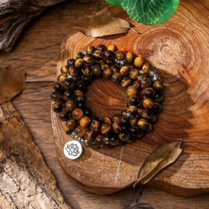 Tiger Eye Stone 108 Mala Beads Healing Necklace-Balancing Calm Spiritual Protection Yoga Meditation Mental Health Anxiety Stress Relief Gift | Natural genuine Tiger Eye necklaces. Buy crystal jewelry, handmade handcrafted artisan jewelry for women.  Unique handmade gift ideas. #jewelry #beadednecklaces #beadedjewelry #gift #shopping #handmadejewelry #fashion #style #product #necklaces #affiliate #ad