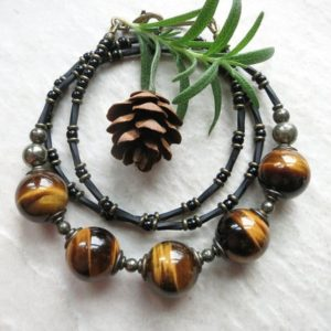 Shop Tiger Eye Necklaces! Tiger's Eye Bead Necklace, golden brown and black beaded necklace with shimmering natural stones | Natural genuine Tiger Eye necklaces. Buy crystal jewelry, handmade handcrafted artisan jewelry for women.  Unique handmade gift ideas. #jewelry #beadednecklaces #beadedjewelry #gift #shopping #handmadejewelry #fashion #style #product #necklaces #affiliate #ad