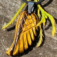 Tigers Eye Carved Angel Wing, Stainless Steen Bale, Healing Stone Necklace With Positive Healing Energy!   Natural genuine Gemstone jewelry. Buy crystal jewelry, handmade handcrafted artisan jewelry for women.  Unique handmade gift ideas. #jewelry #beadedjewelry #beadedjewelry #gift #shopping #handmadejewelry #fashion #style #product #jewelry #affiliate #ad