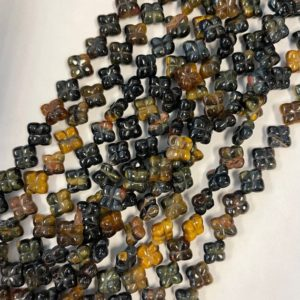 Blue Tiger's Eye 10x5mm Carved Flat Square Gemstone Beads -15.5 Inch Strand–1 Strand / 3 Strands | Natural genuine other-shape Gemstone beads for beading and jewelry making.  #jewelry #beads #beadedjewelry #diyjewelry #jewelrymaking #beadstore #beading #affiliate #ad