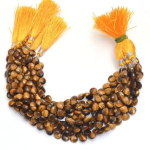 """Shop Tiger Eye Bead Shapes! Natural Tiger Eye Gemstone 5mm-10mm Heart Briolette 