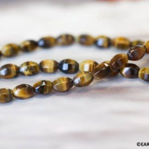 """Shop Tiger Eye Bead Shapes! S/ Tiger Eye 5x7mm Hexagon 6-sided Oval Rice beads 16"""" strand Natural gemstone beads for jewelry making 
