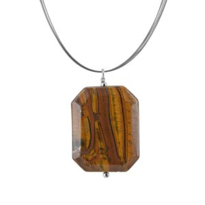 Shop Tiger Eye Pendants! Large Tiger's Eye Bold Necklaces, Large Gemstone, Rectangular Pendant with Stainless Steel Wire Cable Cord, Statement Brown Necklace | Natural genuine Tiger Eye pendants. Buy crystal jewelry, handmade handcrafted artisan jewelry for women.  Unique handmade gift ideas. #jewelry #beadedpendants #beadedjewelry #gift #shopping #handmadejewelry #fashion #style #product #pendants #affiliate #ad
