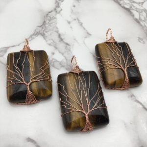 Shop Tiger Eye Pendants! Yellow Tiger Eye Tree Pendant Copper Wire Wrap Rectangle 30x50mm Sold Per Piece | Natural genuine Tiger Eye pendants. Buy crystal jewelry, handmade handcrafted artisan jewelry for women.  Unique handmade gift ideas. #jewelry #beadedpendants #beadedjewelry #gift #shopping #handmadejewelry #fashion #style #product #pendants #affiliate #ad