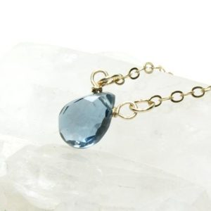 Shop Topaz Pendants! London Blue Topaz Necklace Gold Filled wire wrapped natural gemstone small simple dainty drop pendant choker holiday gift for her women 5578 | Natural genuine Topaz pendants. Buy crystal jewelry, handmade handcrafted artisan jewelry for women.  Unique handmade gift ideas. #jewelry #beadedpendants #beadedjewelry #gift #shopping #handmadejewelry #fashion #style #product #pendants #affiliate #ad