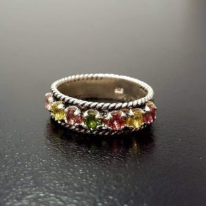 Shop Tourmaline Rings! Tourmaline Band, Natural Tourmaline, October Ring, Half Eternity Band, Multistone Ring, October Birthstone, Solid Silver Band, Tourmaline   Natural genuine Tourmaline rings, simple unique handcrafted gemstone rings. #rings #jewelry #shopping #gift #handmade #fashion #style #affiliate #ad