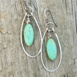 Turquoise Jewelry, Silver Hoop Earrings,  Silver Jewelry, Turquoise Earrings | Natural genuine Turquoise earrings. Buy crystal jewelry, handmade handcrafted artisan jewelry for women.  Unique handmade gift ideas. #jewelry #beadedearrings #beadedjewelry #gift #shopping #handmadejewelry #fashion #style #product #earrings #affiliate #ad