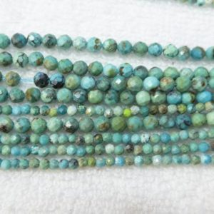 natural blue turquoise beads – small faceted round turquoises – blue green gemstone beads – tiny stone spacer beads – 2mm 3mm 4mm  -15inch | Natural genuine faceted Turquoise beads for beading and jewelry making.  #jewelry #beads #beadedjewelry #diyjewelry #jewelrymaking #beadstore #beading #affiliate #ad
