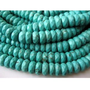 Shop Turquoise Faceted Beads! Turquoise Faceted Rondelle Bead/ Chinese Turquoise/ Faceted Rondelles/ 8mm Beads/ 110 Pieces Approx/ 16 Inch Strand | Natural genuine faceted Turquoise beads for beading and jewelry making.  #jewelry #beads #beadedjewelry #diyjewelry #jewelrymaking #beadstore #beading #affiliate #ad