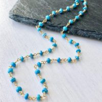Turquoise Necklace, December Birthstone, Blue Turquoise Chocker Necklace Beaded In Gold Or Silver, Dainty Layering Jewelry Gift For Women | Natural genuine Gemstone jewelry. Buy crystal jewelry, handmade handcrafted artisan jewelry for women.  Unique handmade gift ideas. #jewelry #beadedjewelry #beadedjewelry #gift #shopping #handmadejewelry #fashion #style #product #jewelry #affiliate #ad