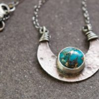 Sterling Silver And Turquoise Crescent Moon Necklace | Natural genuine Gemstone jewelry. Buy crystal jewelry, handmade handcrafted artisan jewelry for women.  Unique handmade gift ideas. #jewelry #beadedjewelry #beadedjewelry #gift #shopping #handmadejewelry #fashion #style #product #jewelry #affiliate #ad
