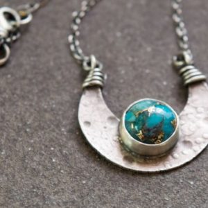 Shop Turquoise Jewelry! Sterling silver and Turquoise crescent moon necklace   Natural genuine Turquoise jewelry. Buy crystal jewelry, handmade handcrafted artisan jewelry for women.  Unique handmade gift ideas. #jewelry #beadedjewelry #beadedjewelry #gift #shopping #handmadejewelry #fashion #style #product #jewelry #affiliate #ad