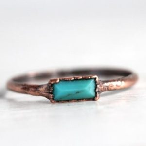 Genuine Turquoise Ring – Electroformed Copper Ring – Small Stacking Ring | Natural genuine Gemstone rings, simple unique handcrafted gemstone rings. #rings #jewelry #shopping #gift #handmade #fashion #style #affiliate #ad