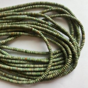 Shop Turquoise Beads! 100% natural Turquoise 4x(2-1)mm rondelle Gemstone Beads -15.5 inch strand | Natural genuine beads Turquoise beads for beading and jewelry making.  #jewelry #beads #beadedjewelry #diyjewelry #jewelrymaking #beadstore #beading #affiliate #ad