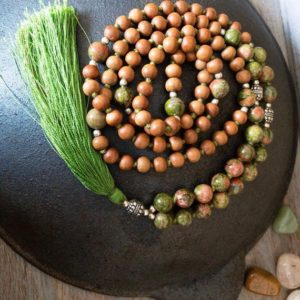 Sandalwood Necklace For Women, Unakite Mala Necklace Men, Japa Mala Beads 108 Mala Necklace, Prayer Bead Necklace, Yoga Lover Gift For Her | Natural genuine Gemstone necklaces. Buy crystal jewelry, handmade handcrafted artisan jewelry for women.  Unique handmade gift ideas. #jewelry #beadednecklaces #beadedjewelry #gift #shopping #handmadejewelry #fashion #style #product #necklaces #affiliate #ad