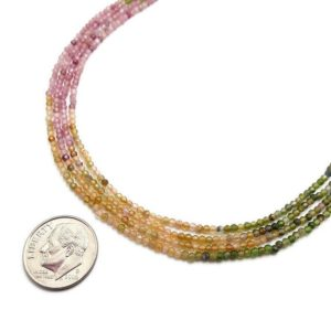 """Natural Watermelon Tourmaline Faceted Round Beads 2mm 3mm 15.5"""" Strand 