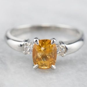 Yellow Sapphire Platinum and Diamond Ring, Sapphire Engagement Ring, Three Stone Ring, Anniversary Gift, September Birthstone E3ZPFZ6D | Natural genuine Array rings, simple unique alternative gemstone engagement rings. #rings #jewelry #bridal #wedding #jewelryaccessories #engagementrings #weddingideas #affiliate #ad