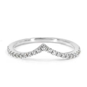 Shop Zircon Rings! Natural White Zircon Wedding Half eternity band Ring in Sterling Silver, Engagement Ring,Curved Wedding Ring,V shape Ring , Gift for Her   Natural genuine Zircon rings, simple unique alternative gemstone engagement rings. #rings #jewelry #bridal #wedding #jewelryaccessories #engagementrings #weddingideas #affiliate #ad