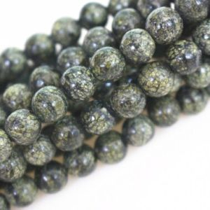 Shop Serpentine Beads! 8mm Natural Serpentine Round Beads,loose beads,semi-precious stone,15 Inches Full strand | Natural genuine beads Serpentine beads for beading and jewelry making.  #jewelry #beads #beadedjewelry #diyjewelry #jewelrymaking #beadstore #beading #affiliate #ad